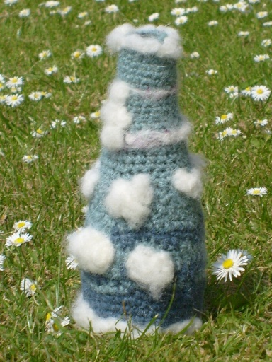 Knitted bottle cover sky