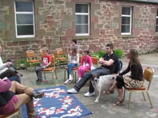 Story telling in the courtyard
