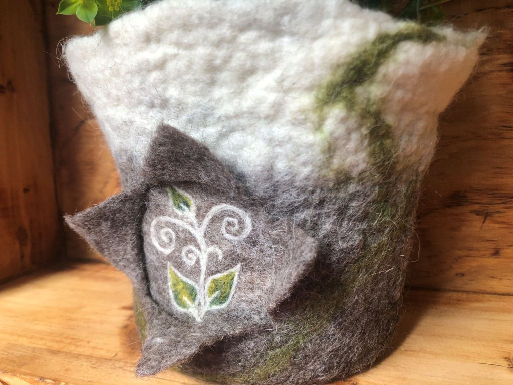 Felted pot natural colours needle felted spiral